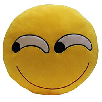 Amazon.com: eonkoo emoticono amarillo cojín redondo almohada ...
