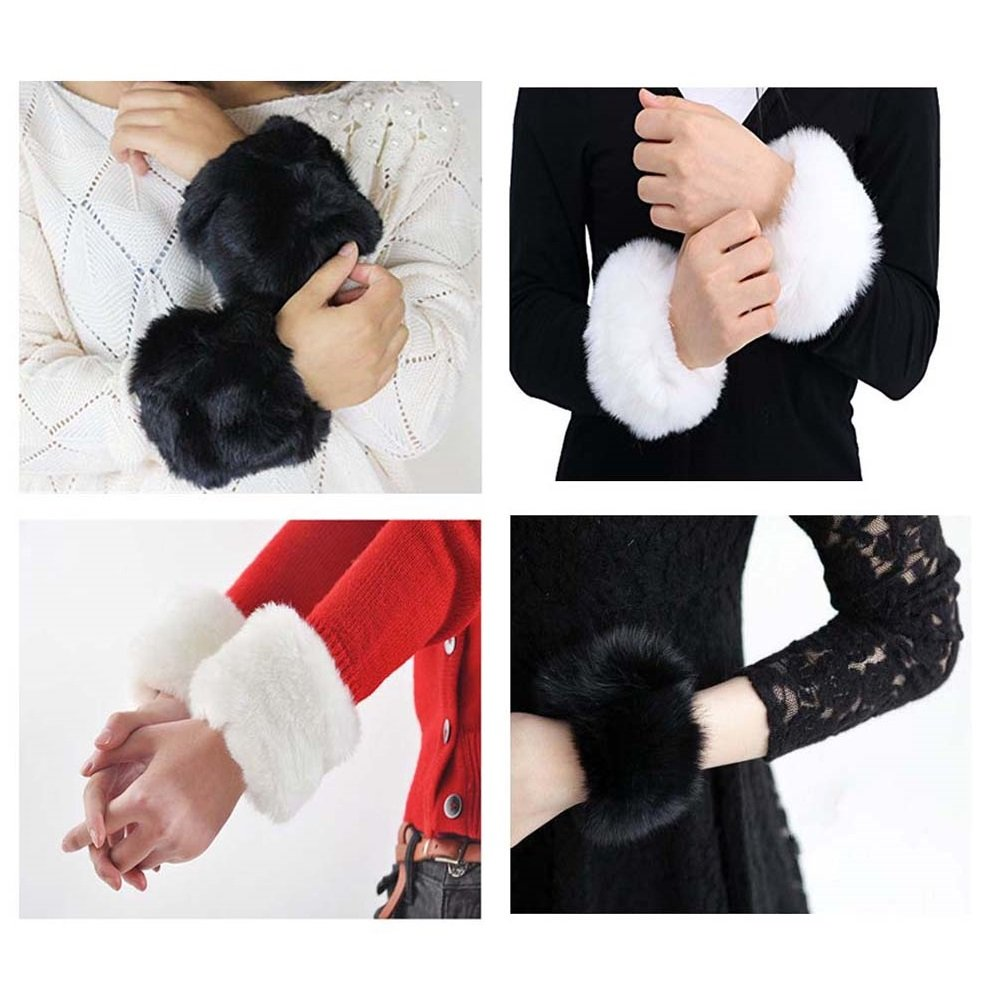 EQLEF Polsino da polso in pelliccia polsini con elastico in pelliccia sintetica polsini per le donne