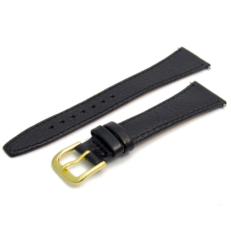 ブラック、ゴールドバックルスリムしなやかなレザー腕時計バンドストラップDenver 20 mm  B01IIC3UEE