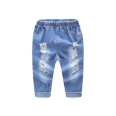 c2cfda102ef Boys Trousers, SHOBDW Kids Children Holiday Cool Hole Shredded Jeans Infant  Girls Casual Denim Long Pants Summer Winter Clothes: Amazon.co.uk: Clothing
