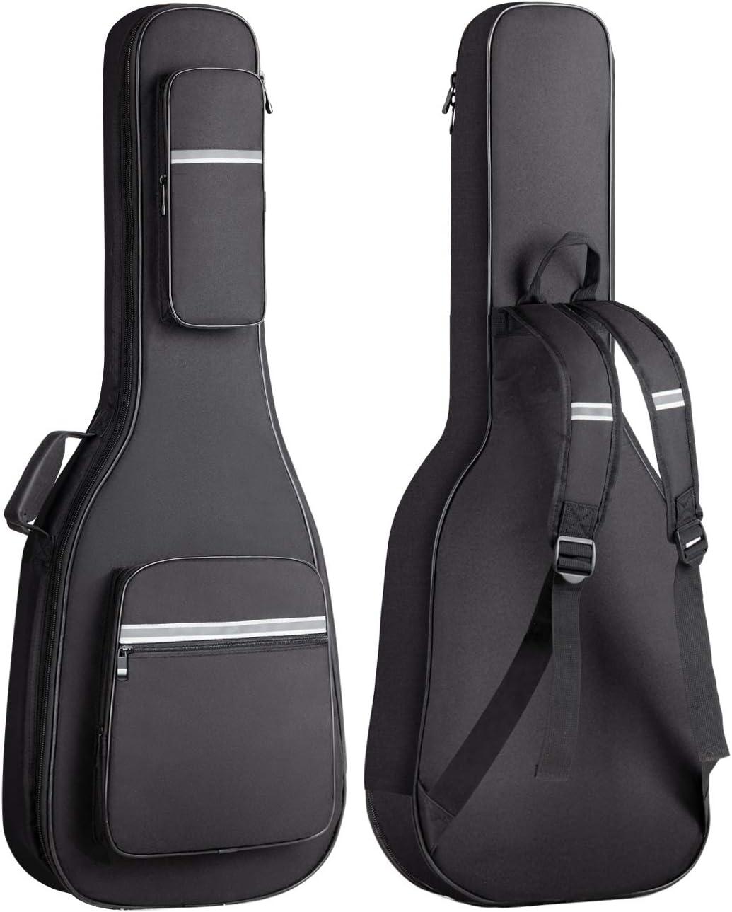CAHAYA Bolsa Guitarra Electrica Acolchada 12mm Funda para Guitarra Electrica con 6 Bolsillos para Libros de Música y Accesorios con Diseño Reflectante