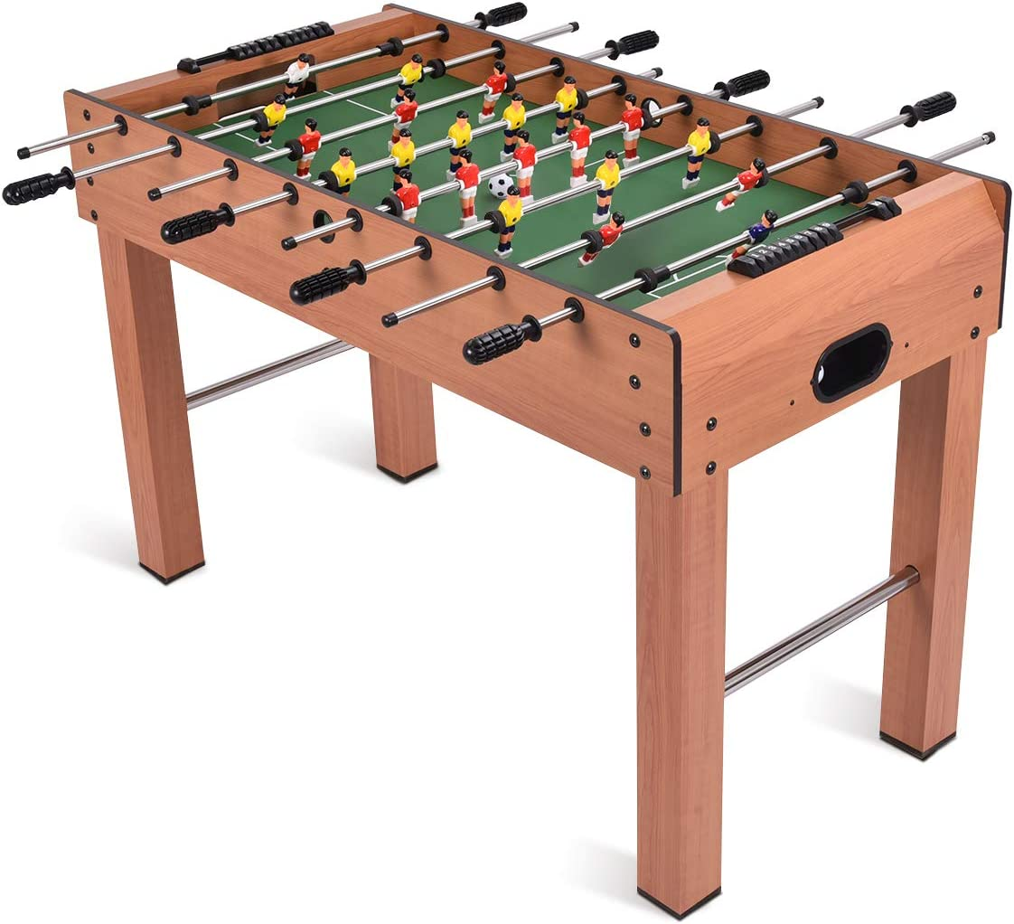 Amazon Com Giantex 48 Foosball Table Wooden Soccer Table Game W Footballs Suit For 4 Players Perfect For Game Room Arcades Bar Family Night Competition Size Table Football For Kids Adults Sports