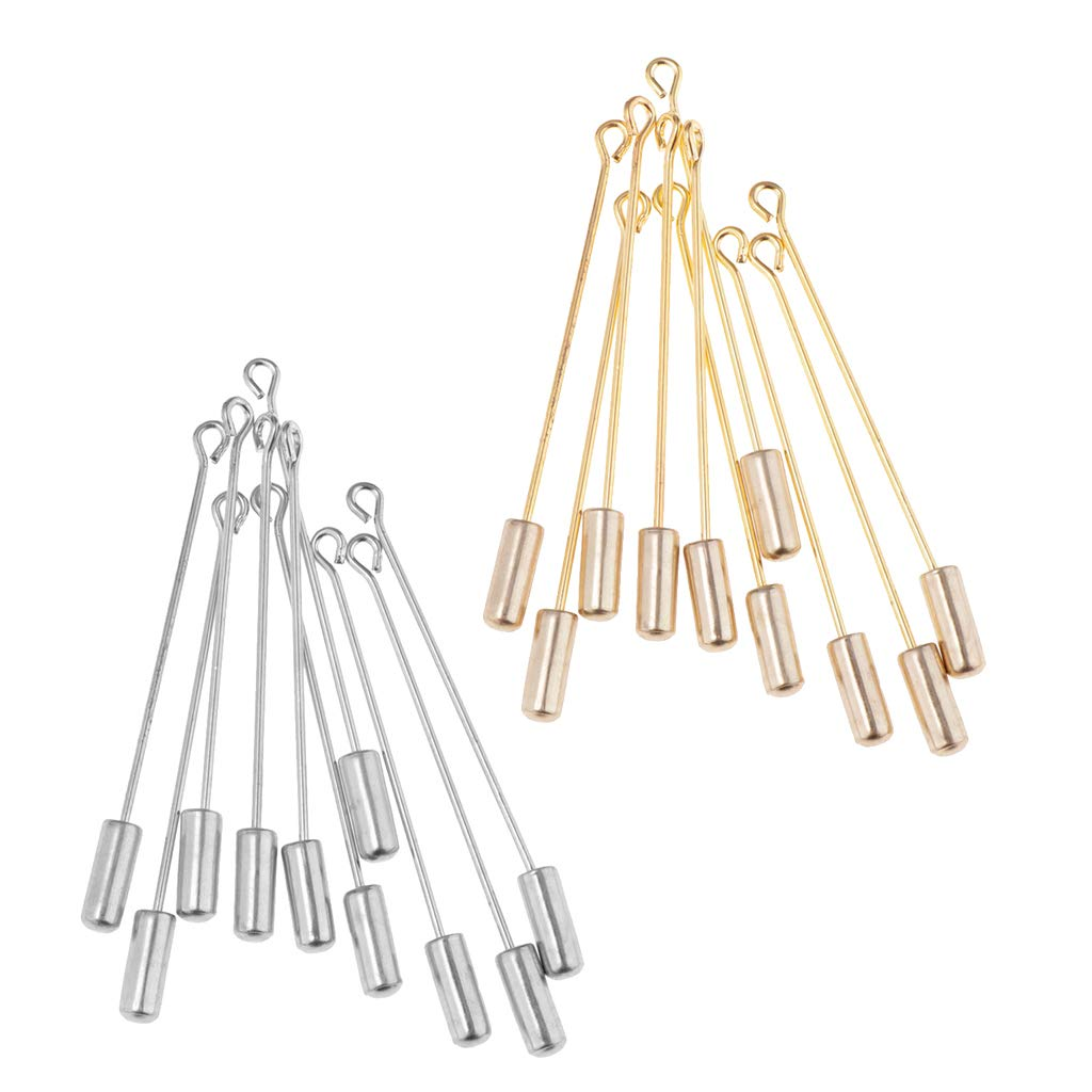 Fenteer 10PC 5cm Beading Coat Stick Pin with Clutches Setting Brooches