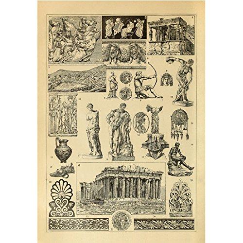 Vintage Poster Print Art Ancient Greek and Ancient Rome Famous Sculpture Architecture Buildings Landmarks Parthenon Wall Decor (13.39'' x 19.69'')