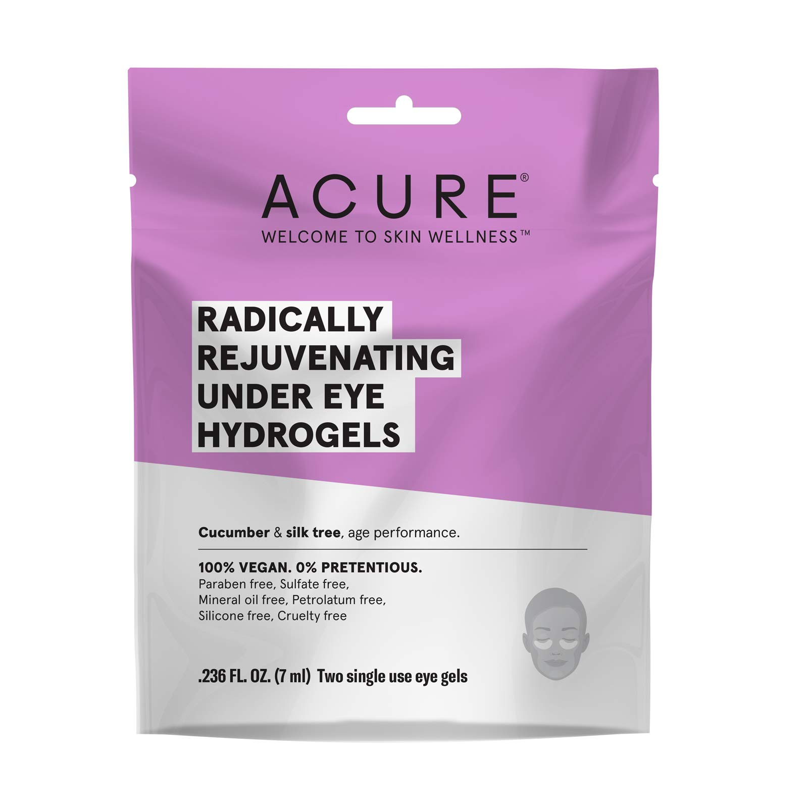 ACURE Radically Rejuvenating Under Eye Hydrogel Mask | 100% Vegan | Provides Anti-Aging Support | Cucumber & Silk Tree - Hydrates & Rejuvenates | 12 Count by Acure