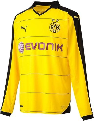 PUMA BVB Long Sleeve Home Replica Shirt with Sponsor - Camiseta/Camisa Deportivas para Hombre, Color
