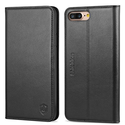 iPhone 7 Plus Case, SHIELDON Genuine Leather iPhone 8 Plus Wallet Case Book Design with Flip Cover and [Credit Card Slot] Magnetic Closure for iPhone 8 Plus / iPhone 7 Plus - Black ()