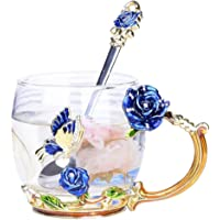 YBK Tech Creative Flower Glass Mug Crystal Glass Tea Cup with Handle for Hot Beverage, Iced Tea, Naked Juice - Blue…