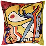 Bass Dance by Alfred Gockel Accent Pillow Cover Handembroidered Art Silk 18'' x 18''