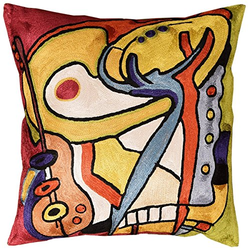 Kashmir Designs Bass Dance by Alfred Gockel Accent Pillow Cover Handembroidered Art Silk 18