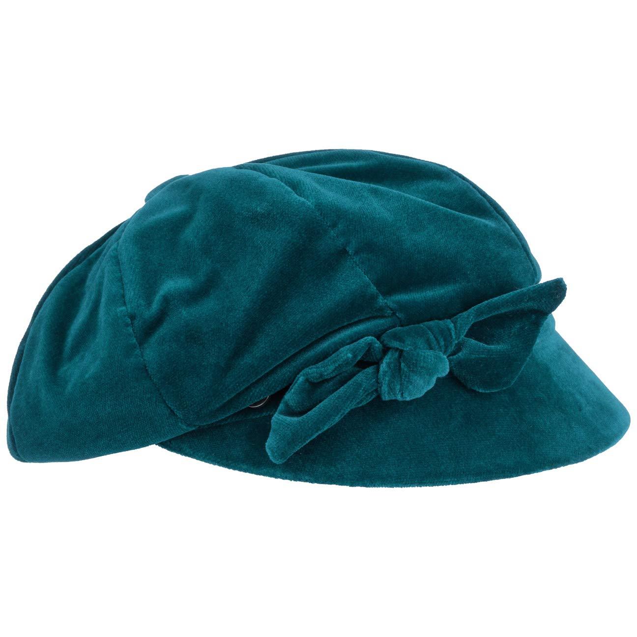 Lierys SAMT Ballonmütze Damencap Newsboy-Mütze Wintercap Baumwollcap für Damen mit Schirm, Futter Herbst Winter