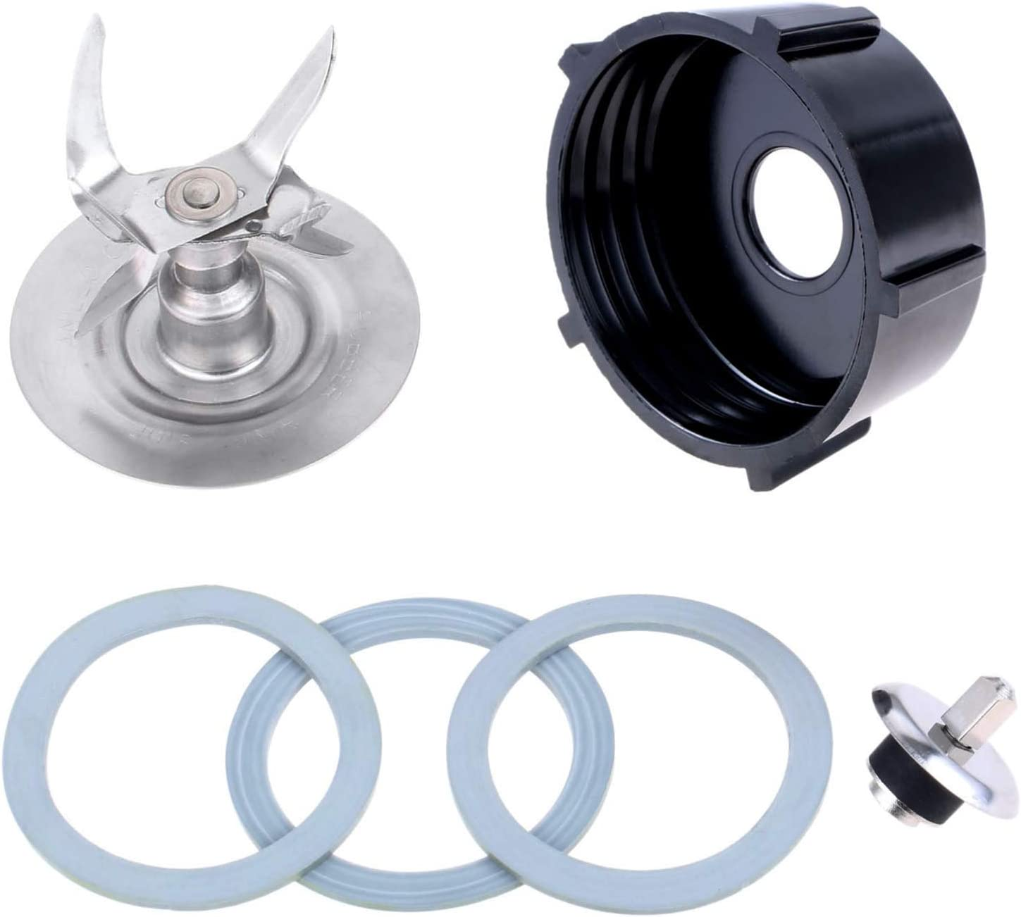 Replacement Parts Oster Blender Ice Blades with Bottom Cap Rubber O-Ring Gaskets Coupling Stud Slinger Pin Kit, Compatible with Oster 5 & 6 Cup Glass (6 PCS)