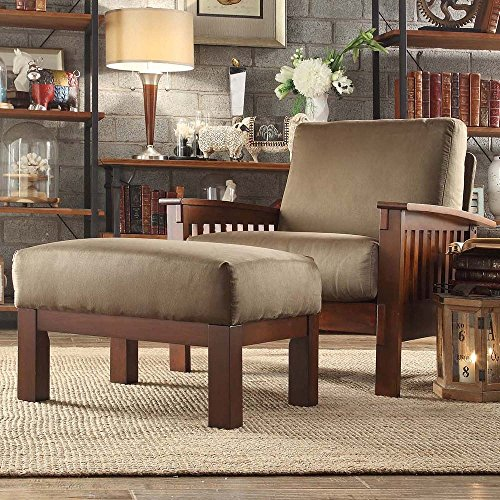 Mission-style Oak Olive Chair and Ottoman ()