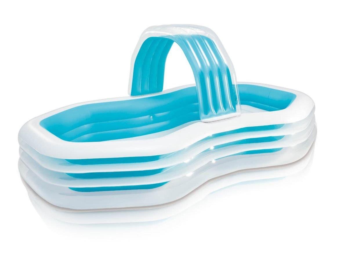 Kinder Planschbecken 310x188x130cm 700 Liter Pool mit Sitzbänken und Wassersprüher