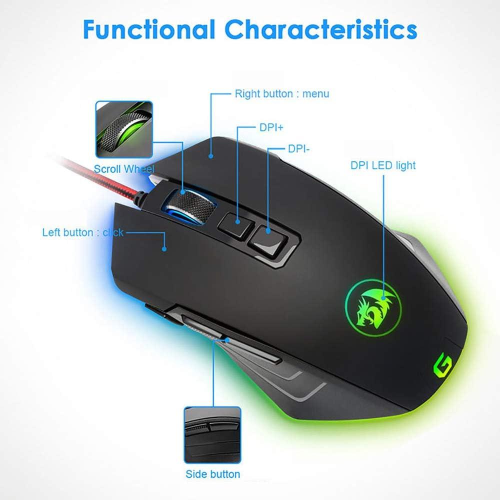 YUEF 10000DPI Gaming Mouse 5-Color RGB Backlight Mode 8-Key Macro Programming Ergonomic Design Suitable for Computer Laptops 4-Speed DPI Adjustment