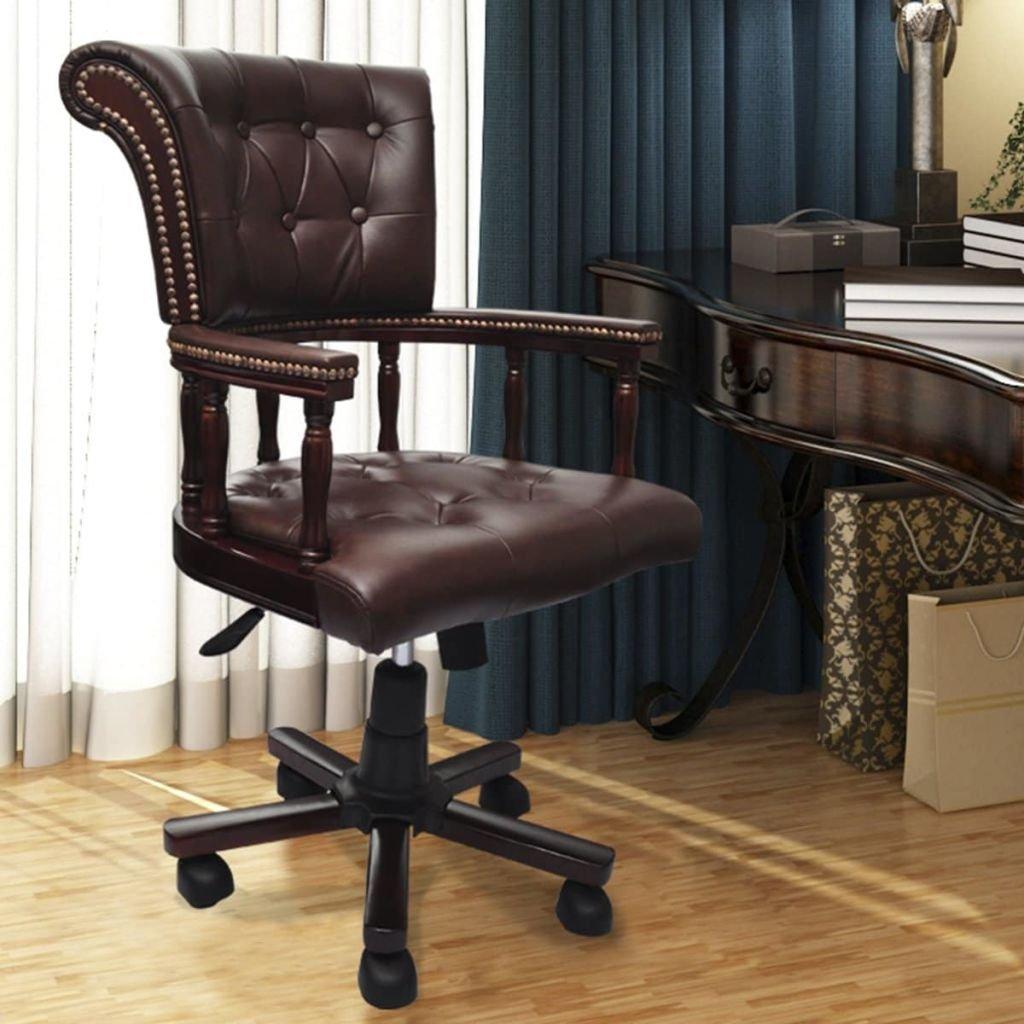 Senluowx Chesterfield Sessel Büro Lenkbar Leder Caff Lenkbar