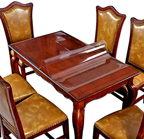 Top Square 24in (2 Set 12 X 24 Inch Square Clear Table Protector Plastic Tablecloth Wooden Furniture Wood Dining Coffee End Side Table Wipeable Cloth Protective Cover Protector PVC Vinyl Mat Tabletop Protection Pad)