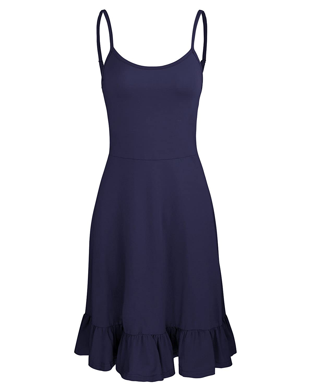 Navy OUGES Women's Adjustable Spaghetti Strap Sleeveless Summer Beach Slip Dress