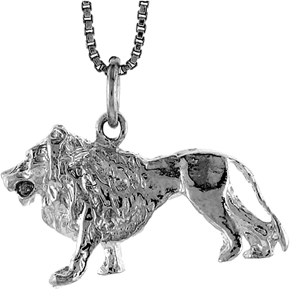 Sterling Silver Lion Pendant D 5//8 inch Tall