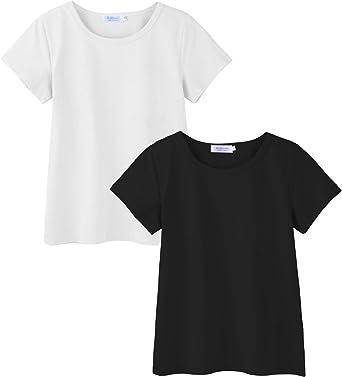 Arshiner Kids 2 Pack Short Sleeve Tees Girls Basic Tees 2pcs Shirt for Tie Dye