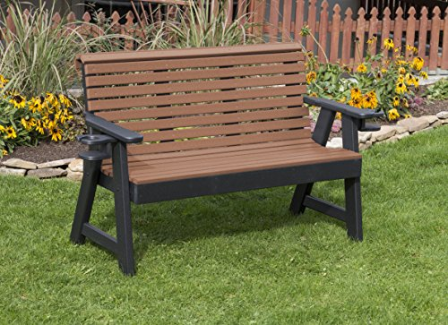 (Ecommersify Inc 5FT-Cedar-Poly Lumber ROLL Back Porch Bench with Cupholder arms Heavy Duty Everlasting PolyTuf HDPE - Made in USA - Amish Crafted)