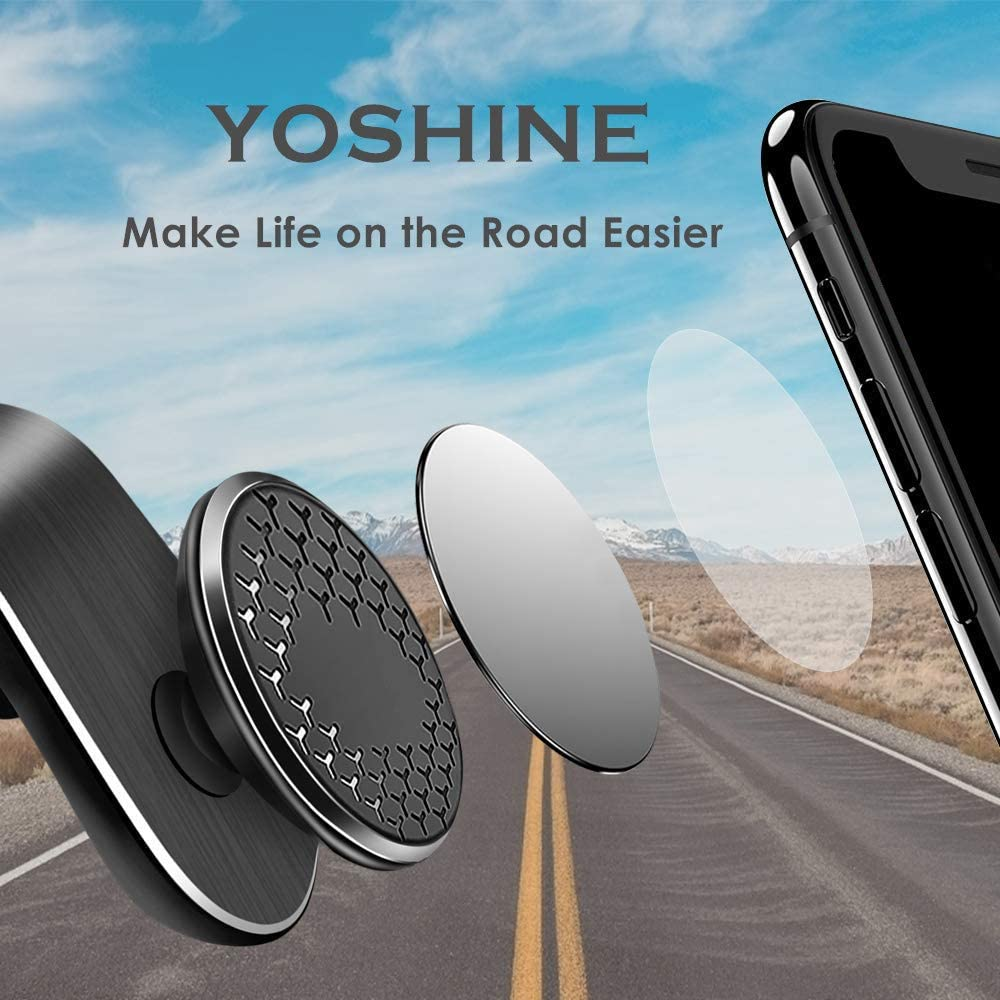 Black YOSHINE 360/° Rotary Car Phone Mount Holder Cradle Universal Phone Stand for Car Smart GPS Cell Phone Holder for Car Air Vent Mount for iPhone Samsung All Smartphones Magnetic Phone Car Mount