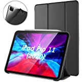 DTTO Case for New iPad Pro 11 Case 2020 & 2018 [Support Apple Pencil Pair & Wireless Charging], Ultra Lightweight Smart Trifold Stand with TPU Soft Back Cover [Auto Sleep/Wake], Black