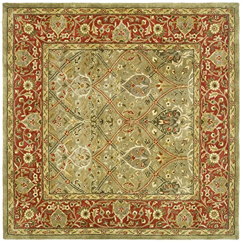 - Safavieh Persian Legend Collection PL819B Handmade Traditional Light Green and Rust Wool Square Area Rug (8' Square)