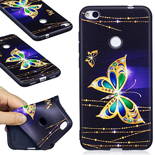 Huawei P8 Lite (2017) Case, FIREFISH Flexible TPU Gel Silicone Embossed Printing [Anti Slip] [Scratch Resistances] Easy Grip Back Cover Shell for Huawei P8 Lite (2017) -Butterfly-A