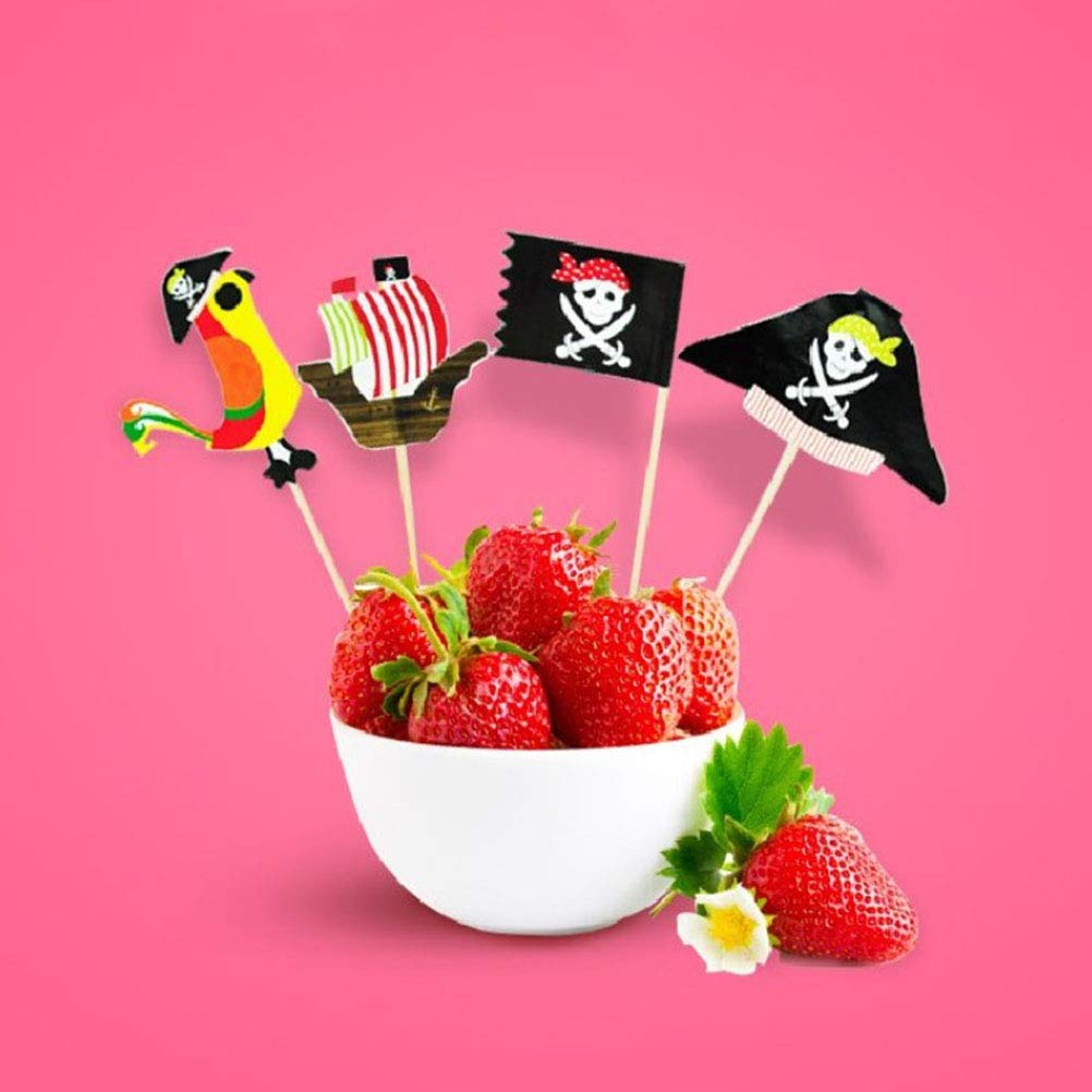 Amosfun 80 unids Cake Topper Pirata Cupcake Topper c/óctel Palillos para Tema Pirata Suministros de Fiesta de cumplea/ños