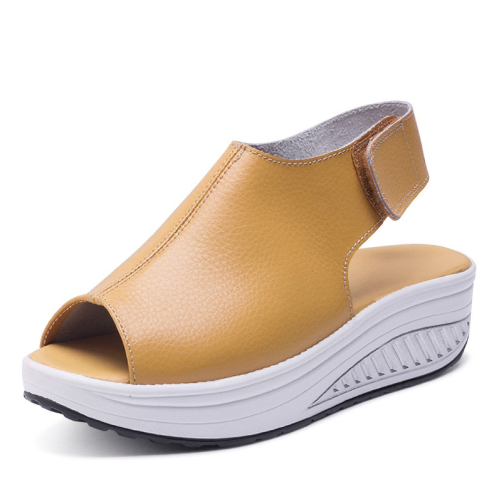 Koyi Sommer Sandalen Weibliche Keilabsatz Fisch Mund Dicken Boden angehoben Sandalen Schuhe 5cm  39 EU|Yellow