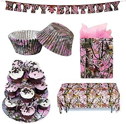 Strange Amazon Com Havercamp Pink Camo Birthday Party Bundle Banner Personalised Birthday Cards Paralily Jamesorg