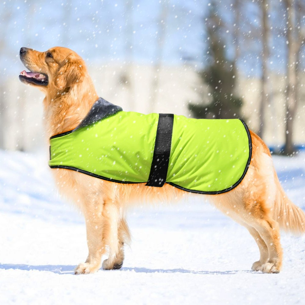 Domi Reflective Dog Winter Coat, Waterproof Soft Fleece Lined Dog Jacket, Cold Weather Warm Pet Vest with Adjustable Band, 6 Sizes (S-XXXL) Available For Your Small/Medium/Large Dogs