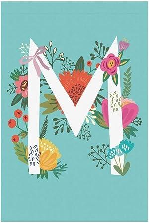 BoloHome Letra M Monograma Bandera de Jardín Casa Pancarta 30,48 x 45,72 cm, Bandera Decorativa Estacional Floral para Fiesta Yarda Hogar Decoración Exterior, 100% Poliéster: Amazon.es: Hogar