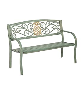 Plow & Hearth Pineapple Metal Garden Bench - 50 L x 21 W x 33.6 H - Verdigris