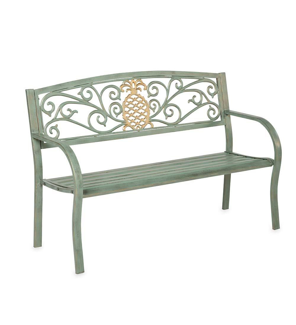 Pineapple Metal Garden Bench - 50 L x 21 W x 33.6 H - Verdigris