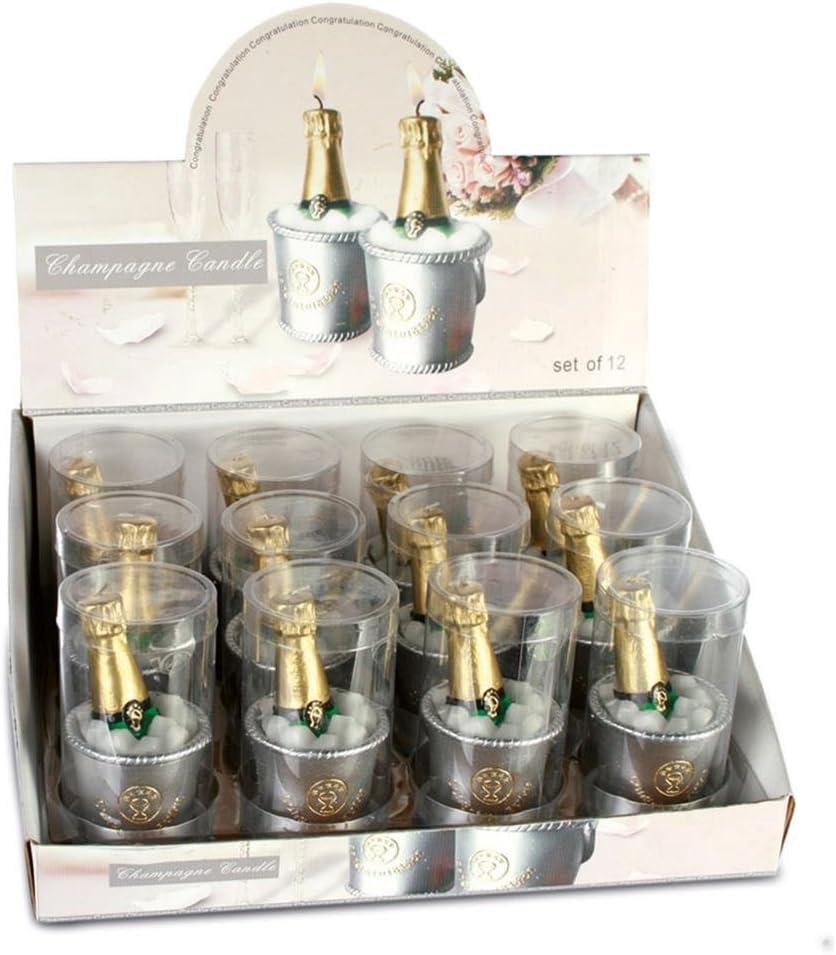 4 x bouteille de champagne bougie fête de mariage cadeau dans seau à glace set tea light