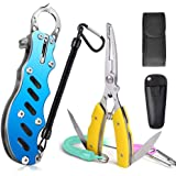 ANBURT フィッシュグリップ ナイフ内蔵 防錆素材 フィッシュプライヤー 魚掴み器 釣り具 専用ケース 安全ロープ付き