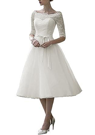 PLMS Women\'s Wedding Dress Short Boat Neck Half Sleeve Summer Lace ...