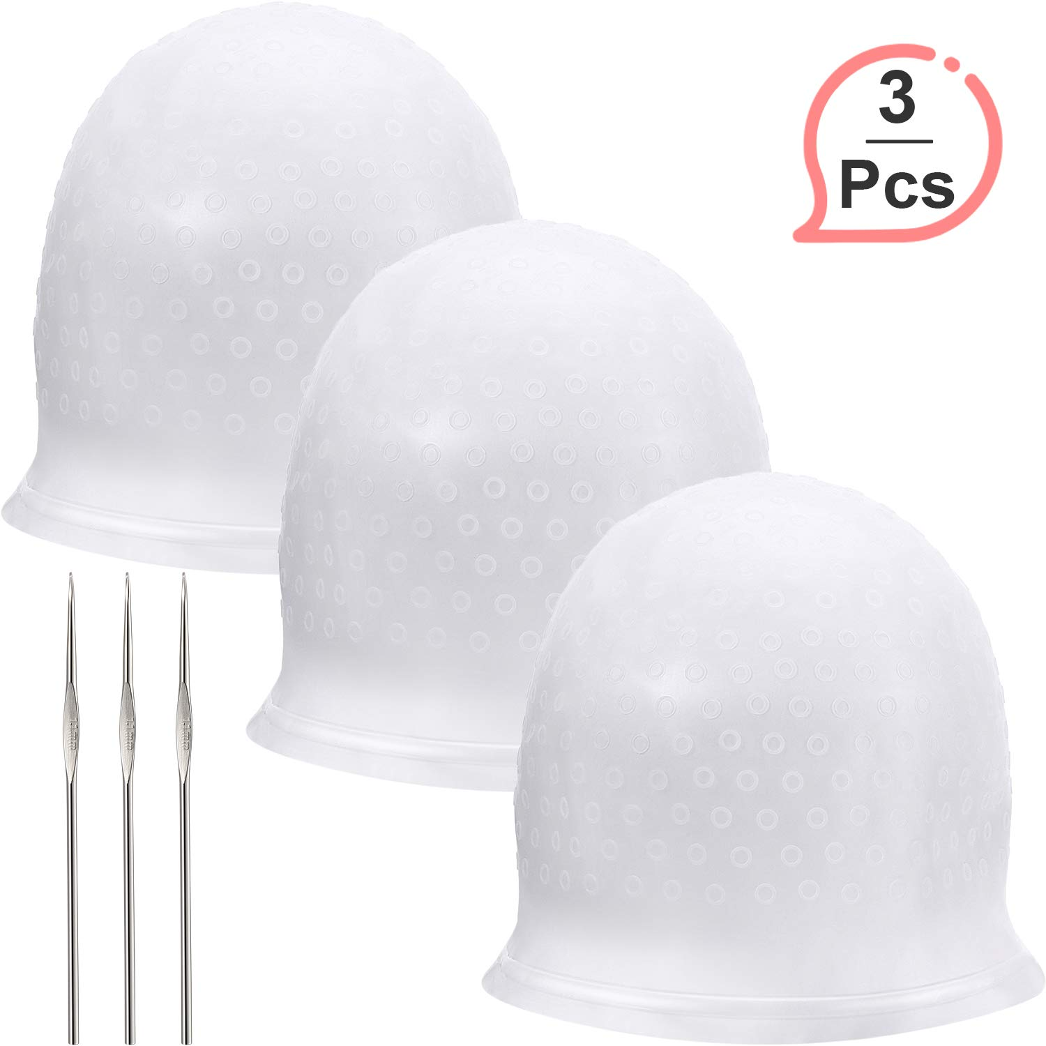 3 Sets Silicone Highlight Cap Reusable Highlight Hair Cap Salon Hair Coloring Dye Cap with Hooks for Women Girls Dyeing Hair by WILLBOND