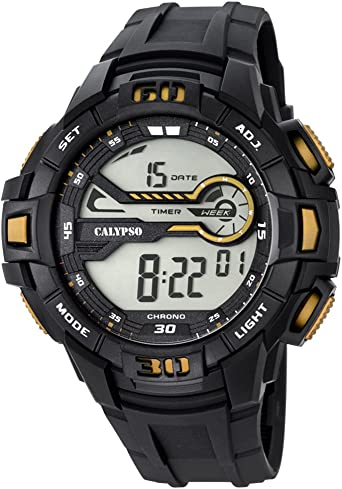 Calypso de hombre reloj de pulsera Sport Digital PU de pulsera Negro Reloj de cuarzo esfera negro oro uk5695/4