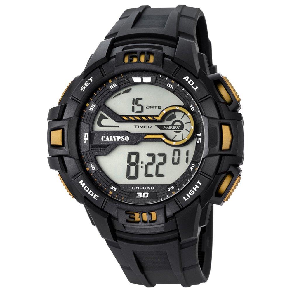Calypso hombre-reloj deporte digital PU-pulsera negro cuarzo-reloj de colour negro y dorado UK5695/4