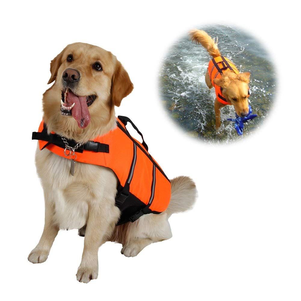 orange Medium orange Medium Raincoat Dog Swimming Life Jacket Floatation Vest Coat with Adjustable Belt (color   orange, Size   M)