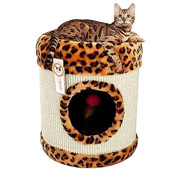 Surface MAX Suministros de Mascotas Cubo de sisal con Estampado de Leopardo Cómoda Cama para Gatos