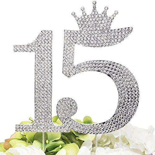 Number 15 Quinceanera Rhinestone Princess Crown Monogram Cake Topper - Sweet 15th Birthday Party (Silver) (Sweet Quinceanera)