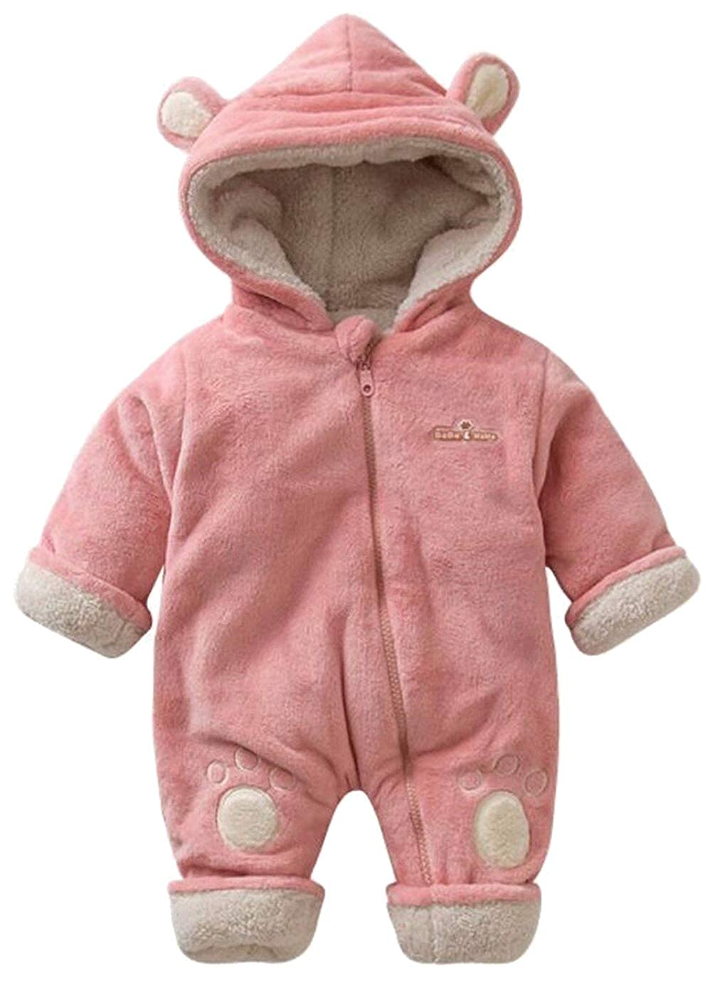 eb2d93fbb81 Amazon.com  EGELEXY Baby Boys Girls Winter Fleece Lined Hooded Outfit  Onesie Cute Bear Style Romper  Clothing