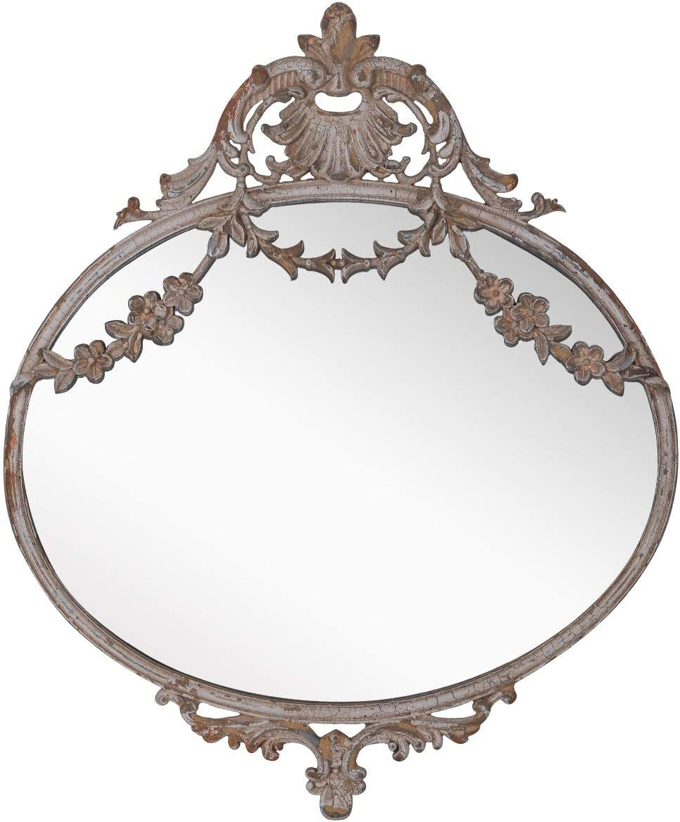 NIKKY HOME Rustic Decorative Metal Oval Wall Mounted Mirror for Home Decoration, 10 x 12