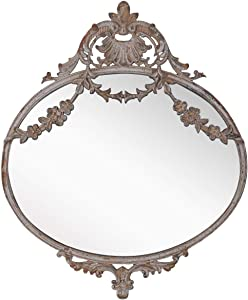 """NIKKY HOME Rustic Decorative Metal Oval Wall Mounted Mirror for Home Decoration, 10"""" x 12"""""""