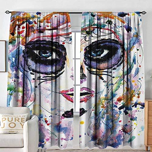 Rod Pocket Curtains Sugar Skull,Halloween Girl with Sugar Skull Makeup Watercolor Painting Style Creepy Look,Multicolor,for Room Darkening Panels for Living Room, Bedroom 54