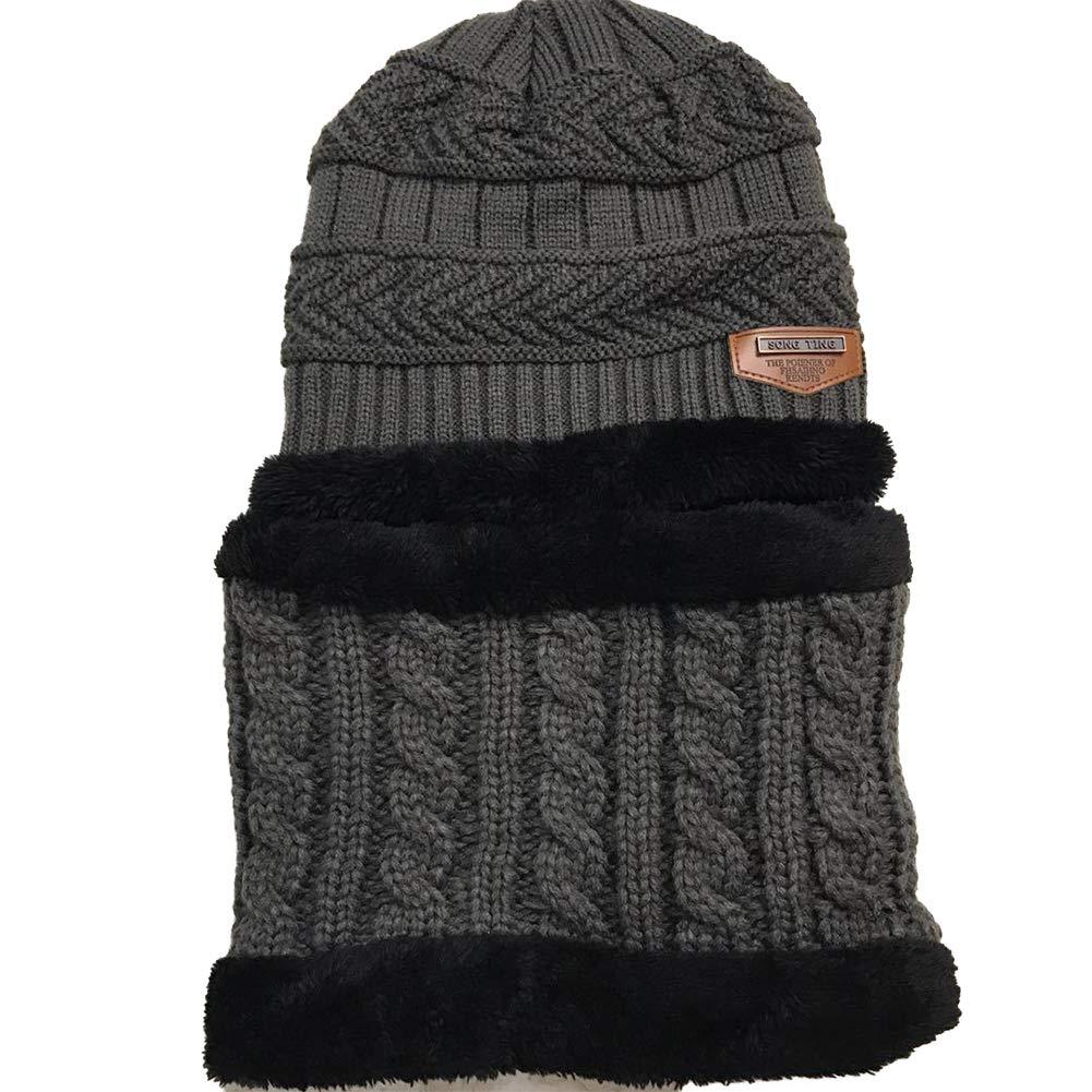 2 PCS/Set Kids Boys Girls Hat and Scarf Set Warm Snow Knit Beanie Slouchy Skull Cap and Circle Scarf(Dark Gray) Xiton